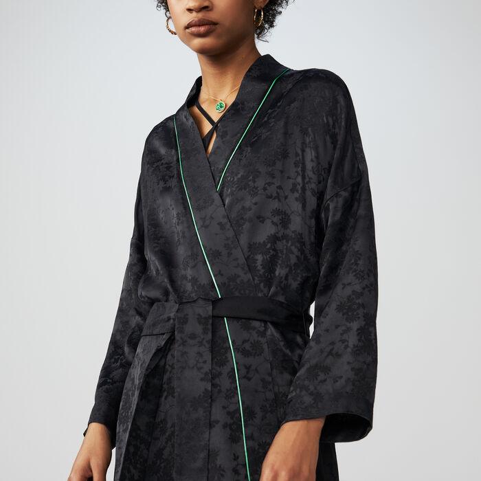 Veste longue esprit kimono en jacquard : Vestes couleur Black