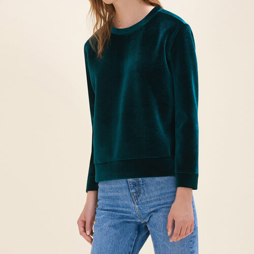 Straight-cut velvet sweatshirt. : Knitwear color Pink