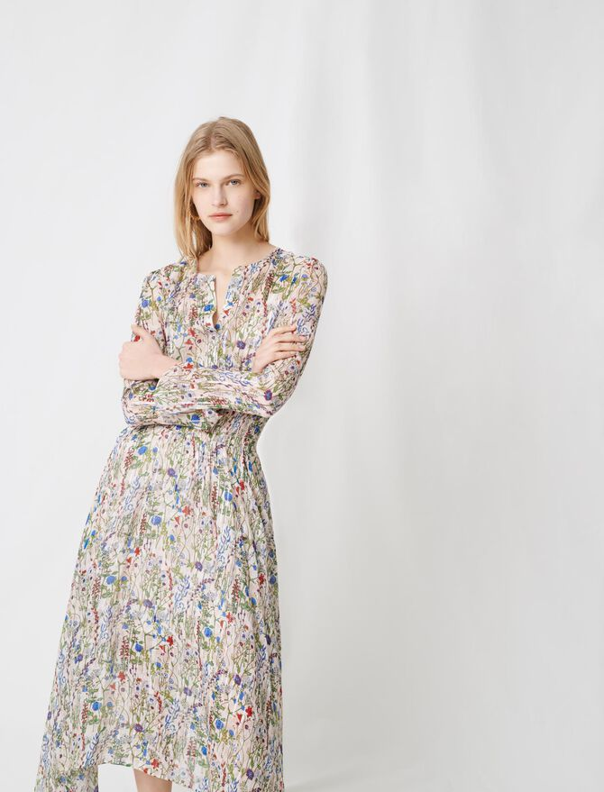 Floral-print long asymmetric dress - Dresses - MAJE