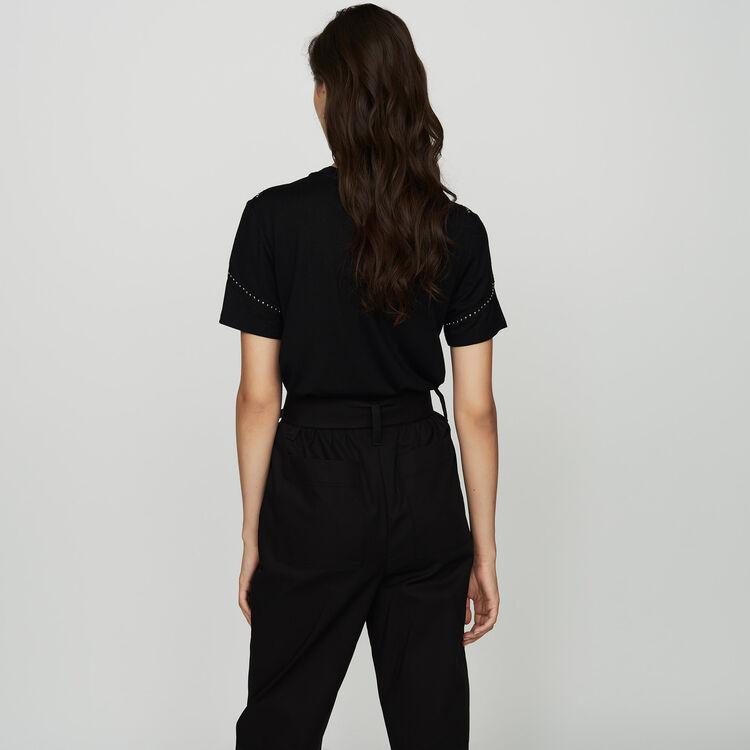 Tee-shirt loose avec studs : SoldesUK-All couleur Black