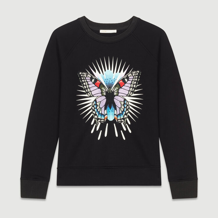 Sweat-shirt avec papillon brodé : T-Shirts couleur Black