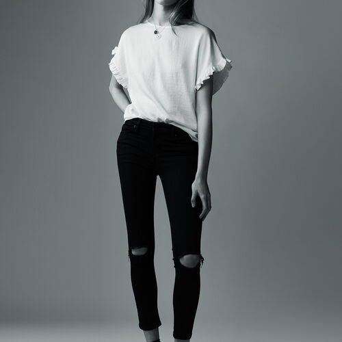 7/8 embroidered skinny jeans : Trousers & Jeans color Black 210
