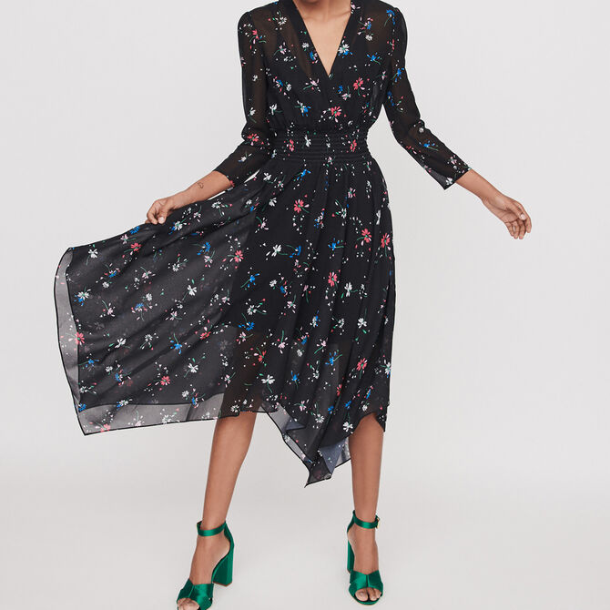 Printed-muslin scarf dress - See all - MAJE