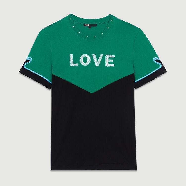 Tee-shirt bicolore avec broderie : Prêt-à-porter couleur MULTICO