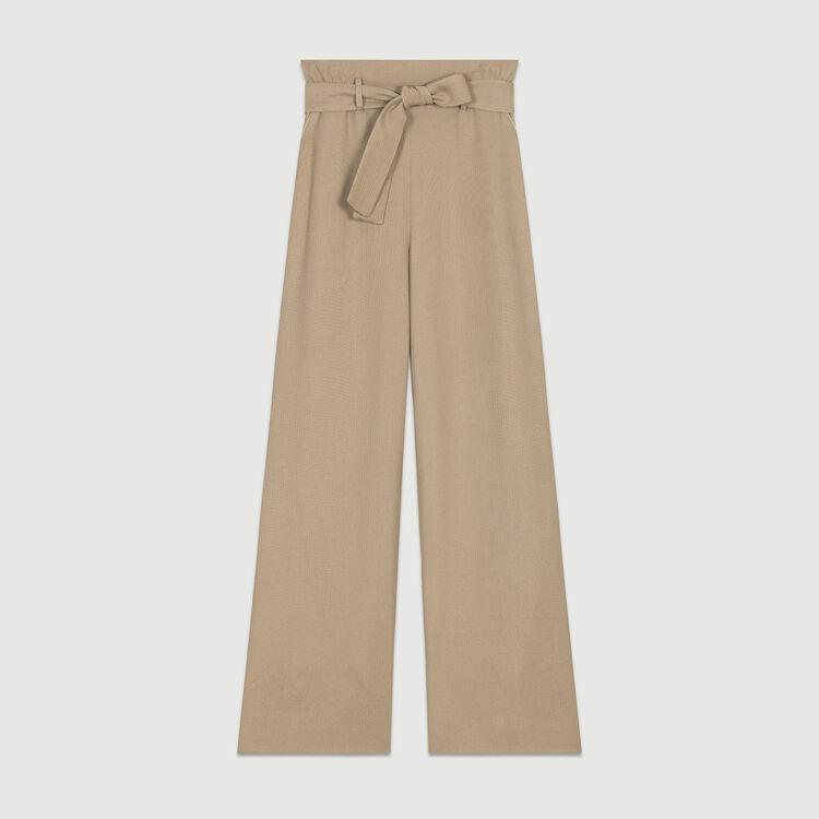 Pantalon large ceinturé : Pantalons couleur Beige