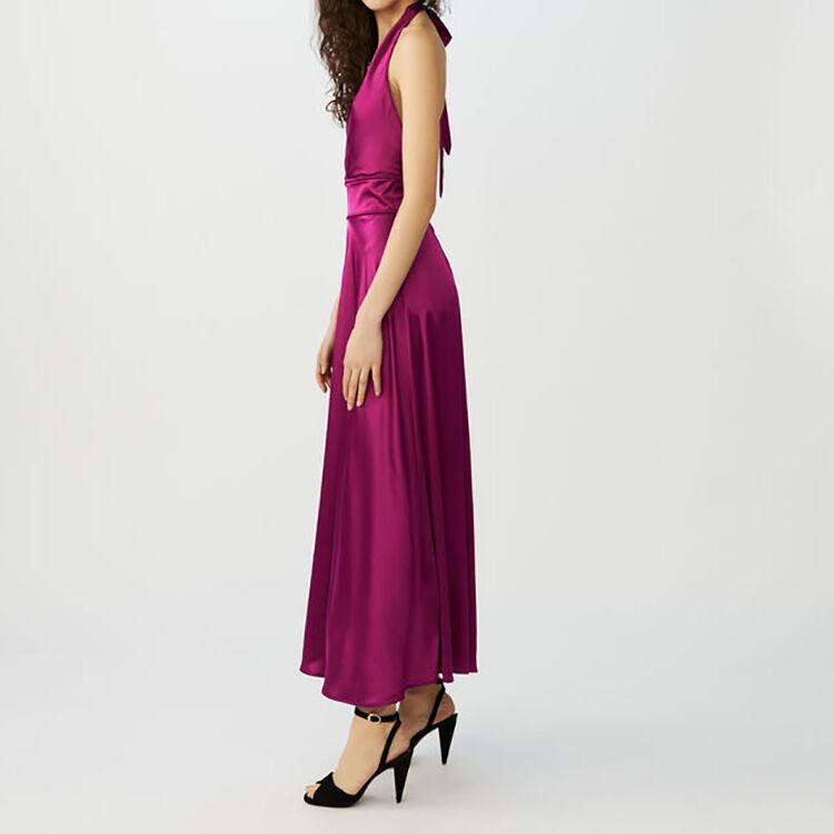 Robe longue sans manches en soie : Robes couleur Fushia