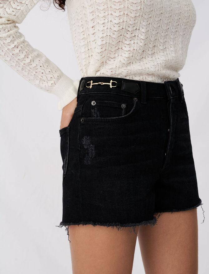 Denim shorts with horsebit details -  - MAJE