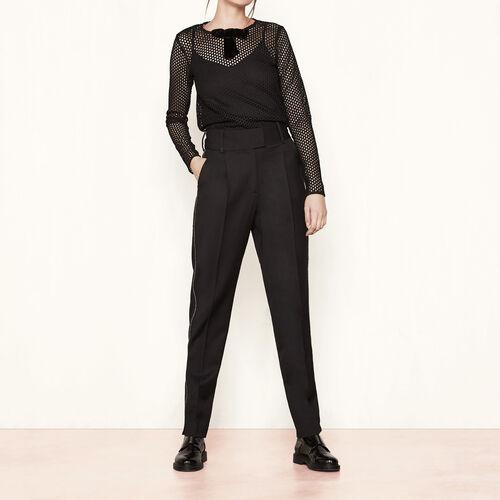 Pantalon large avec détails de zips : Pantalons & Jeans couleur Black