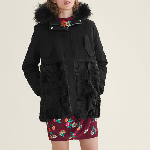 Parka in cotton and curly sheepskin : Coats color Black 210
