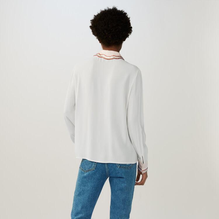Chemisier avec détails perlés : Chemises couleur ECRU