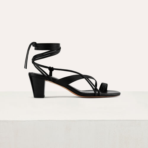 Kitten heel tie-back sandals : Shoes color Black 210