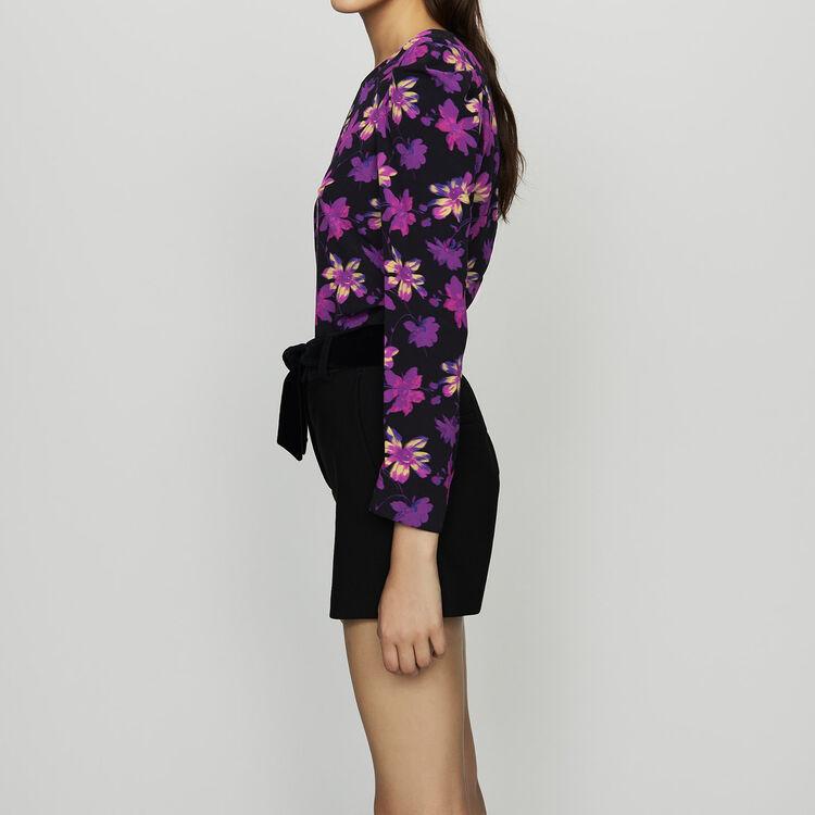 Top en crêpe à imprimé floral : Tops couleur Imprime