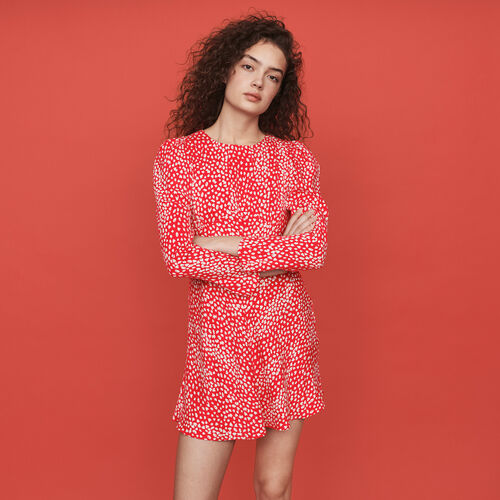 Jacquard-printed gathered dress : Winter collection color Red