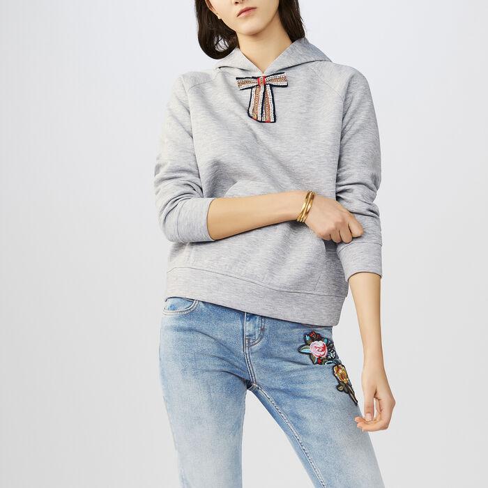 Sweat-shirt avec nœud amovible : T-Shirts couleur Gris