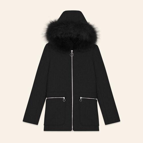 Manteau avec zips fantaisie : Manteaux couleur BLACK