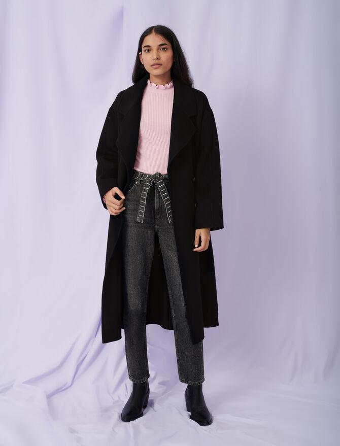 Manteau en double face ceinturé - éco-responsable - MAJE
