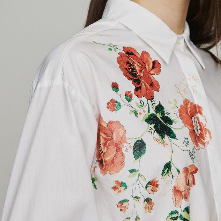 Chemise avec impression florale : Chemises couleur BLANC