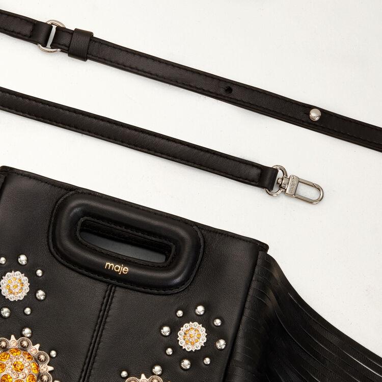 Sac M Mini en cuir et studs : M Mini couleur Black