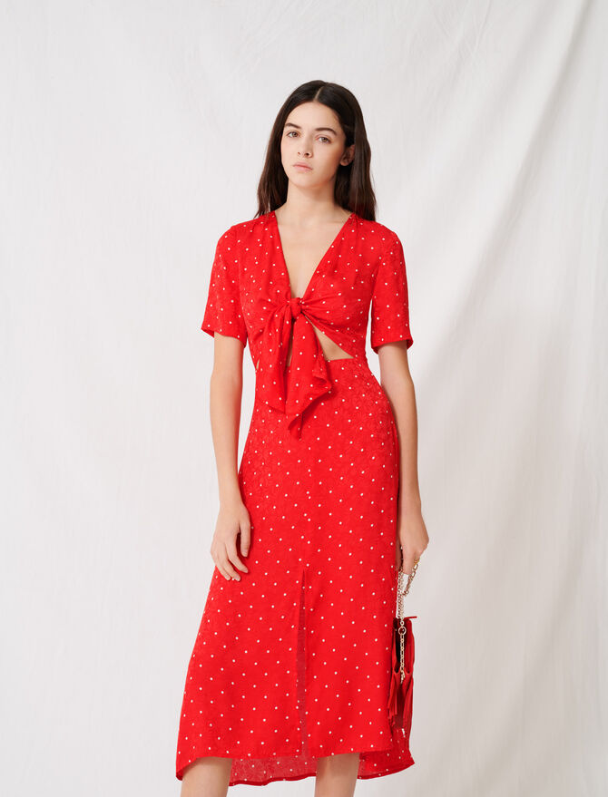 Long tie dress with polka dot print - Dresses - MAJE