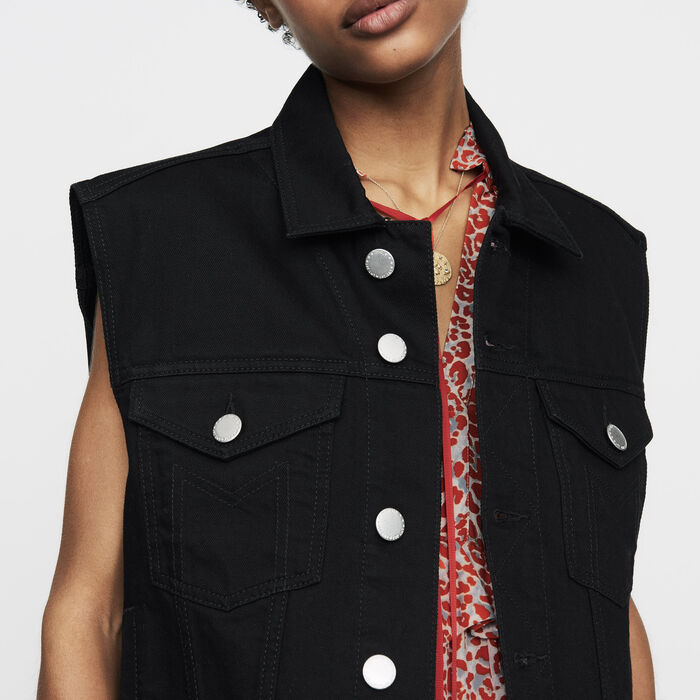 Veste en jean sans manches : Nouvelle Collection couleur Black