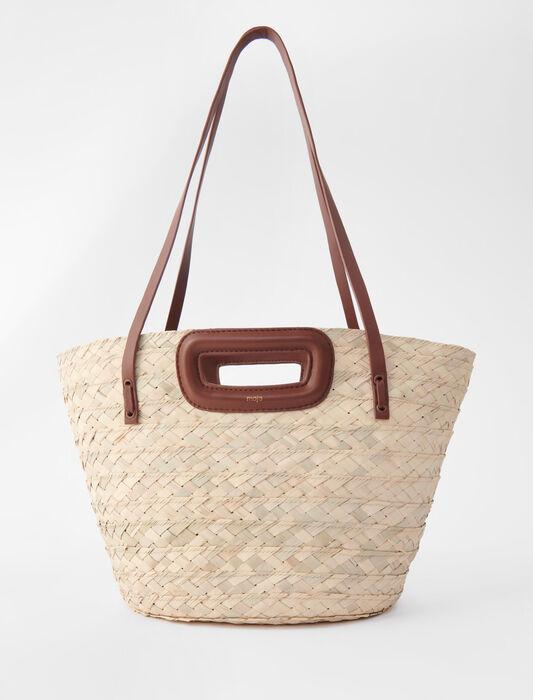 Panier en palme tressée et cuir : Tous les sacs couleur Caramel