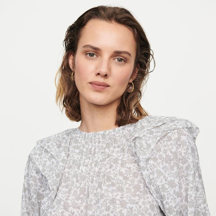 Top à fleurs avec volants : Tops & Chemises couleur Gris