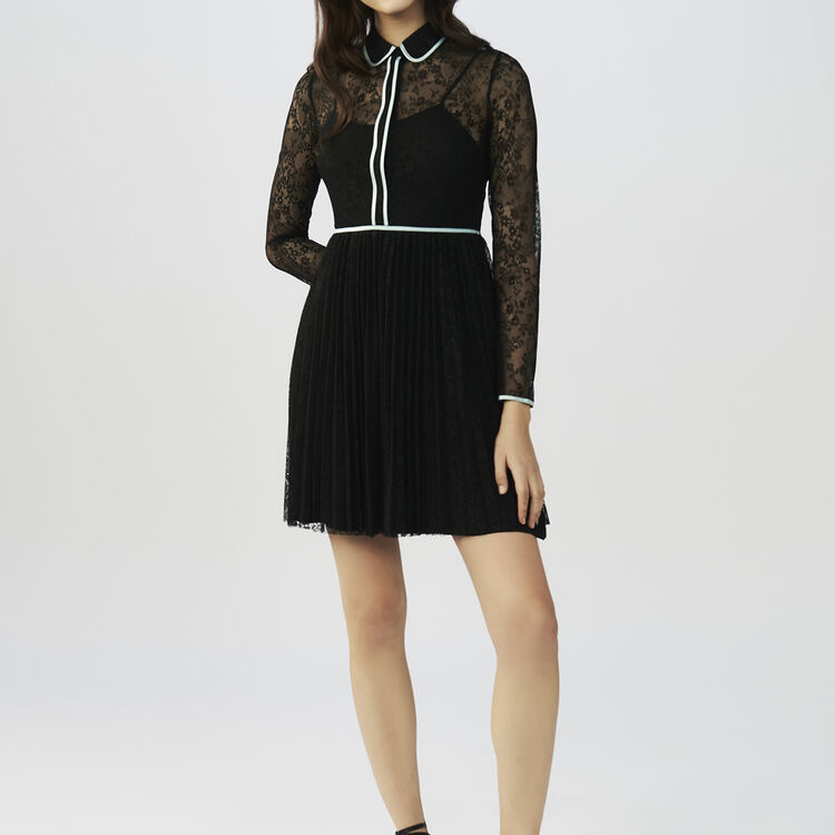 Robe patineuse en dentelle : Robes couleur Black