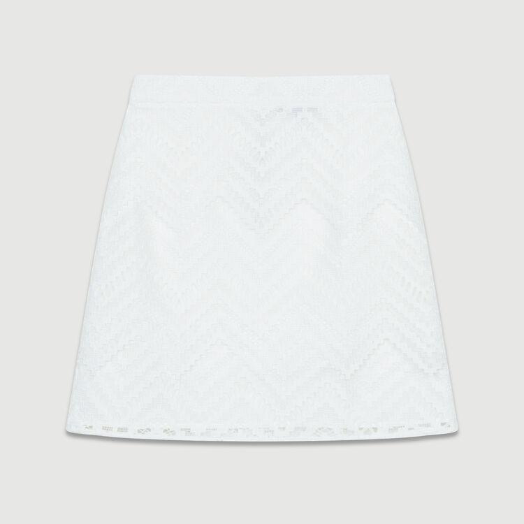 Jupe courte avec jeu de dentelle : Jupes & Shorts couleur Blanc