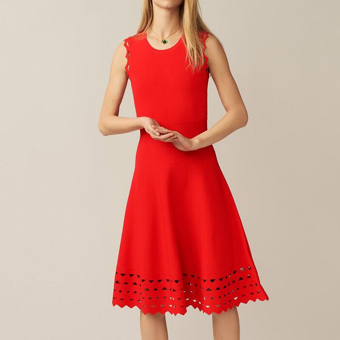 Robe en maille ajourée : Robes couleur ROUGE