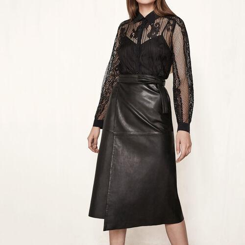 Leather wraparound skirt : Skirts & Shorts color Black 210