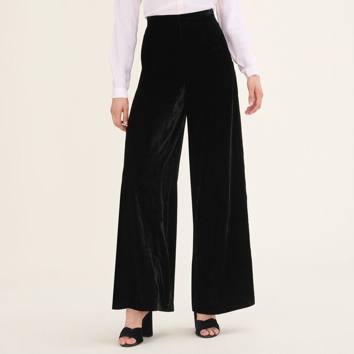 Pantalon large en velours : Pantalons & Jeans couleur Black