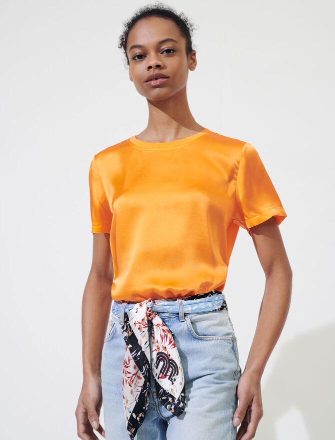 Material mix cotton and silk T-shirt -  - MAJE