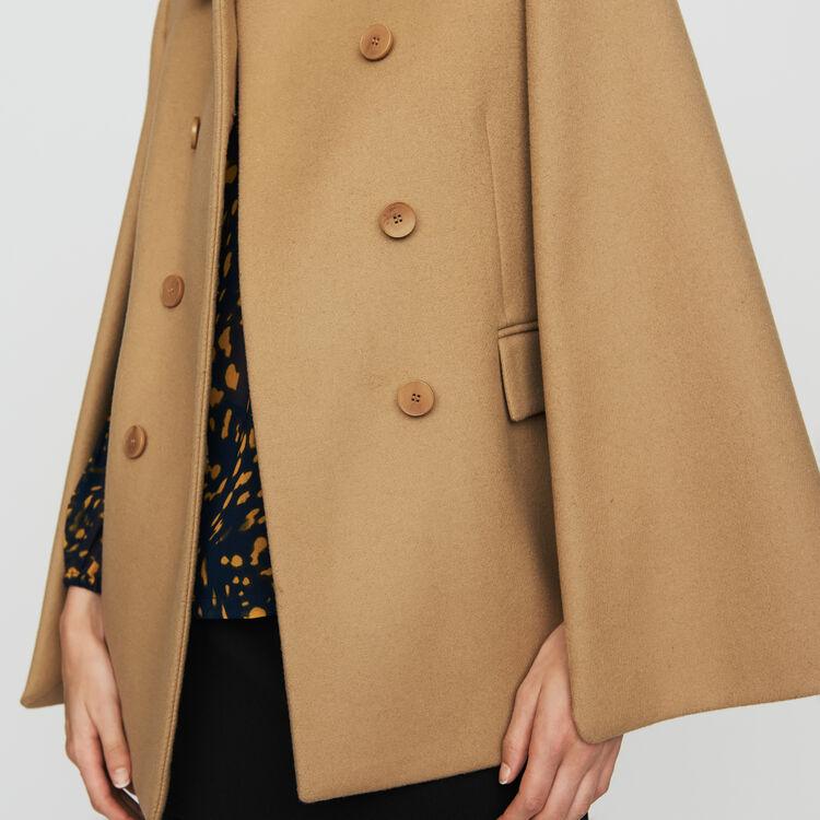 Manteau-cape en laine vierge : Manteaux couleur Camel