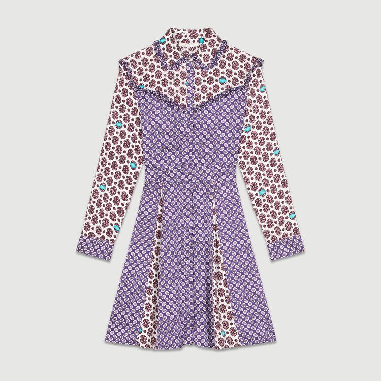 Robe en satin avec mix d'imprimés : Robes couleur IMPRIME