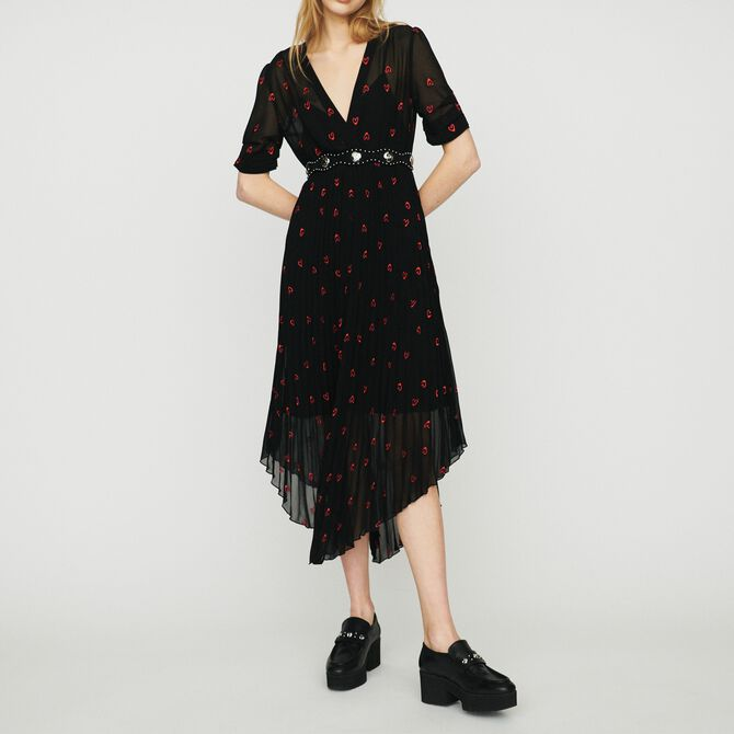 Pleated dress with heart embroidery - See all - MAJE