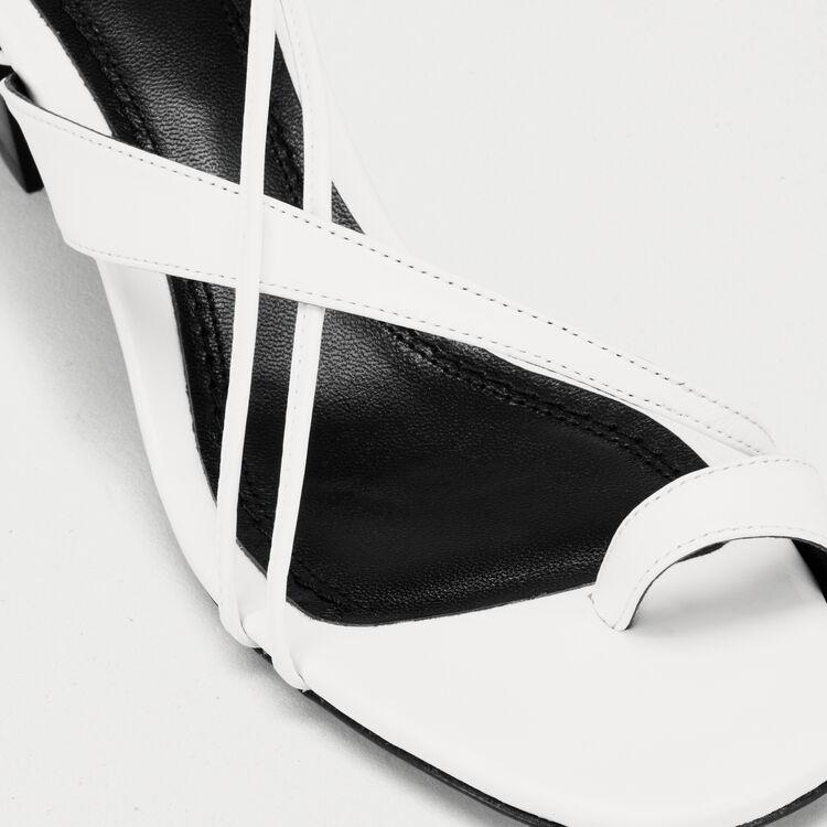 Sandales en cuir avec laçage cheville : Escarpins couleur Blanc