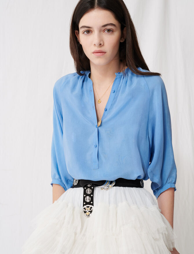 Buttoned blouse with shirring - Tops & Shirts - MAJE