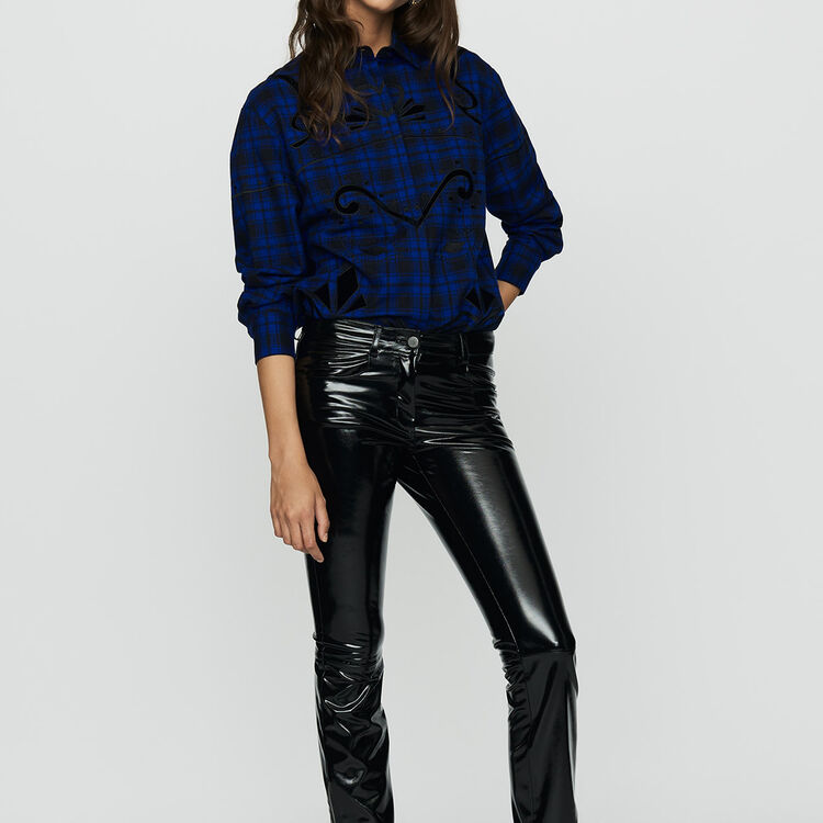 Pantalon cigarette en simili cuir : Pantalons couleur Black
