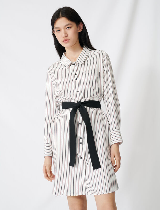 Belted pinstriped shirt dress - Dresses - MAJE