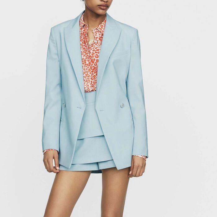 Blazer long en laine mélangée : Vestes couleur Bleu Ciel