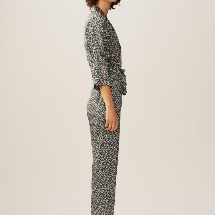 Combi-pantalon en satin imprimé : Pantalons couleur IMPRIME