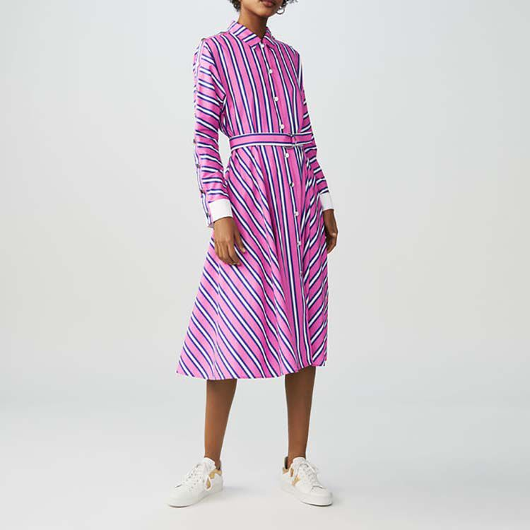 Robe-chemise longue à rayures : Robes couleur Rayure