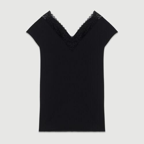 Top côtelé avec dentelle : Tops couleur BLACK