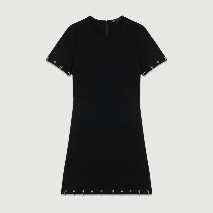 Robe en crêpe avec œillets : Robes couleur Black