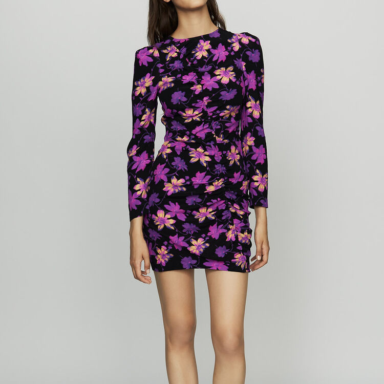 Robe drapée à imprimé floral : Robes couleur Imprime