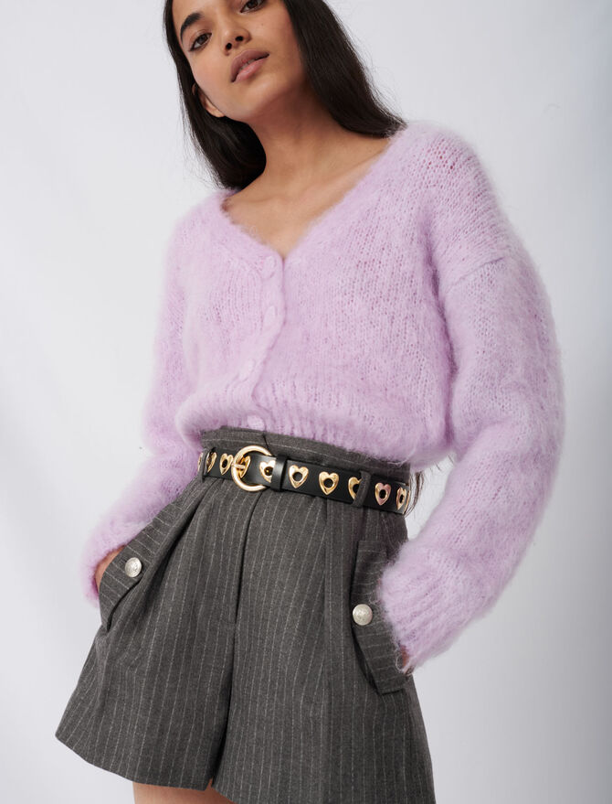 Mohair cardigan with fancy buttons - Pullovers & Cardigans - MAJE