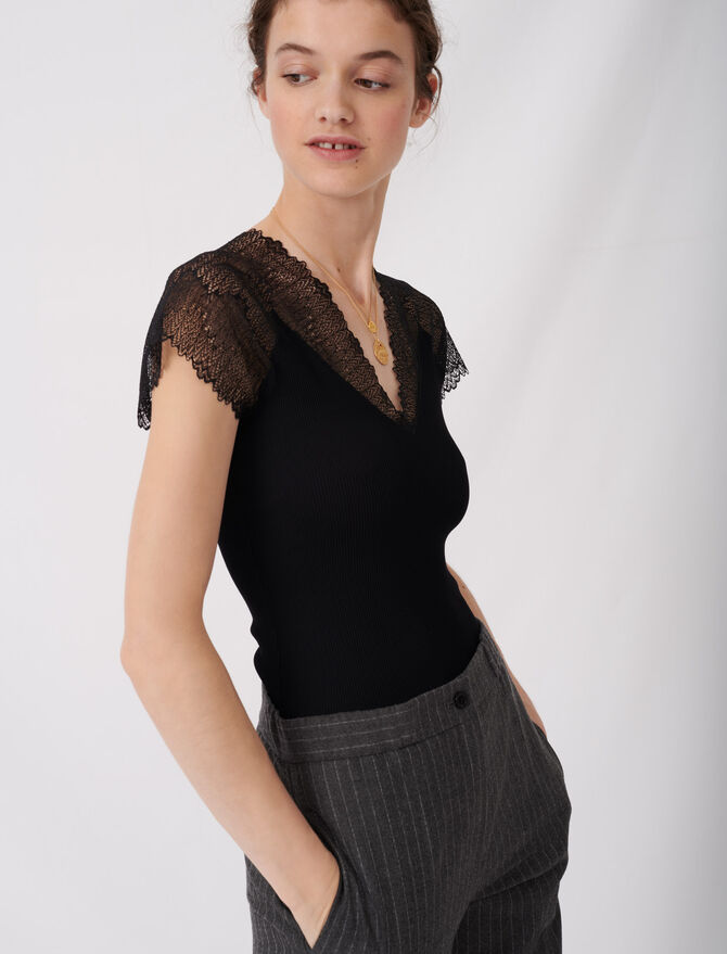 Jersey top with lace trim - Tops & Shirts - MAJE