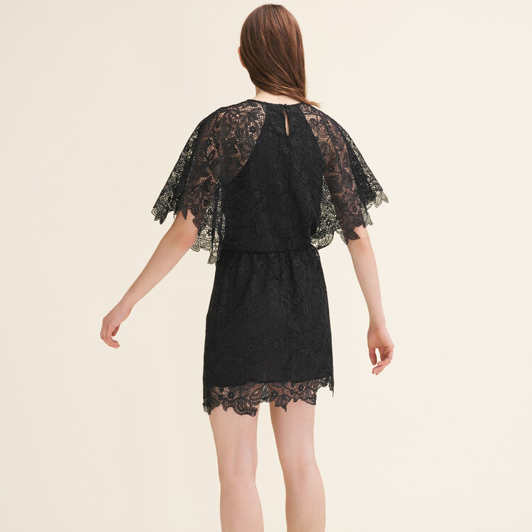 Robe courte en guipure : Robes couleur Black