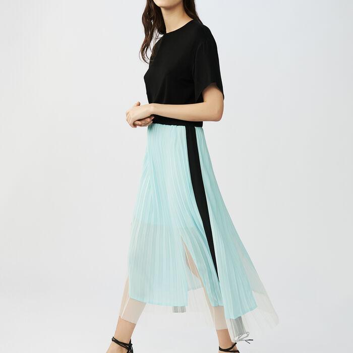Robe plissée bicolore : Robes couleur Black