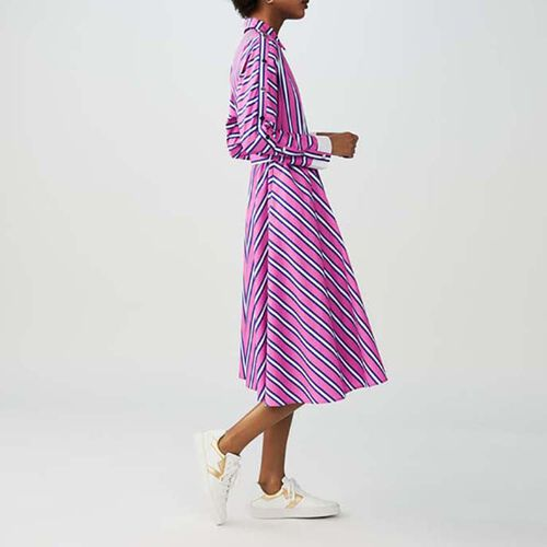 Long belted dress : New in color Stripe